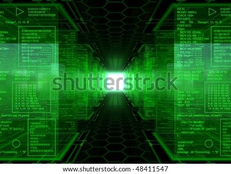 3d generated abstract background with a hex pattern floor  an a lot of cubes with green assembly text - stock photo