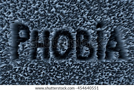 3D generated abstract phobia text as background - stock photo