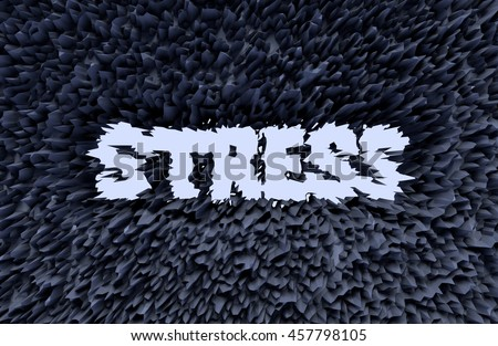3D generated abstract stress text as background - stock photo