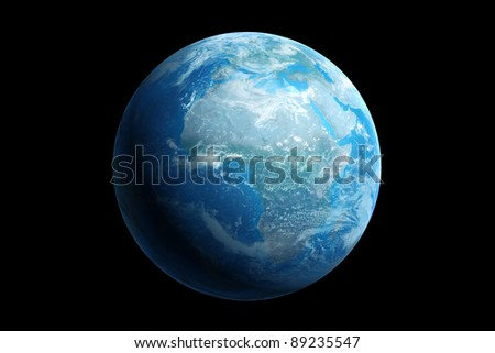 3d generated blue earth, africa - stock photo