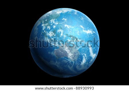 3d generated blue earth, australia and oceania - stock photo