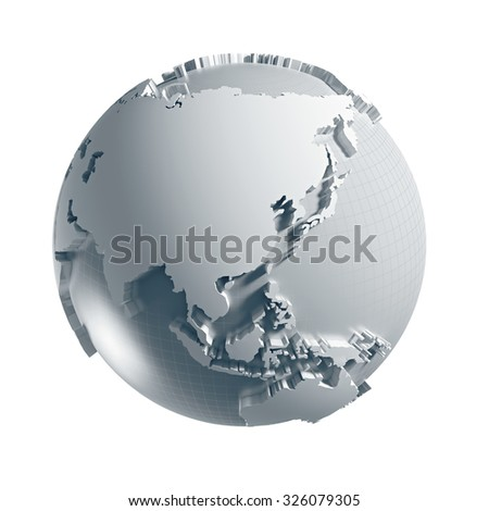 3D generated Globe. Asia side. Clipping path included