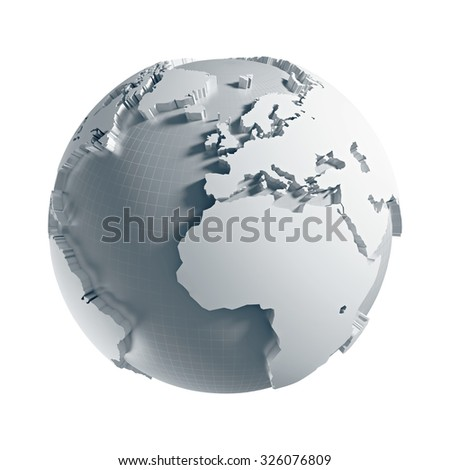3D generated Globe. Europe, Africa, Atlantic ocean side. Clipping path included