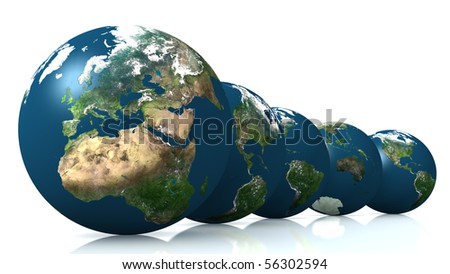 3D generated globe models on white background with smooth reflection on the floor.