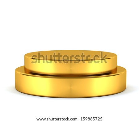 3d Generated gold pedestal isolated on white background - stock photo
