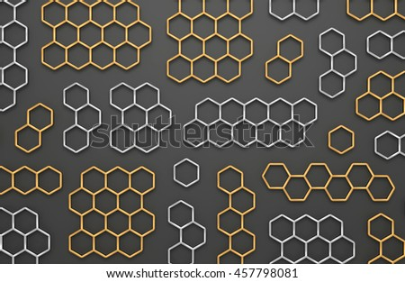 3D generated golden and silver honeycomb illustration as a background - stock photo