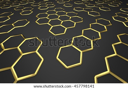 3D generated golden honeycomb illustration as a background - stock photo