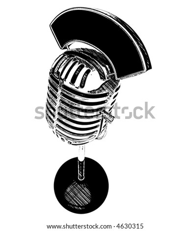 3D generated microphone - stock photo