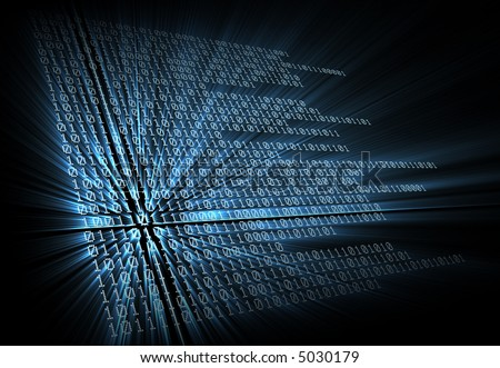 3D generated XXL image of digital binary code. - stock photo