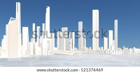 3d generic city with frozen lake and blue sky 3D illustration