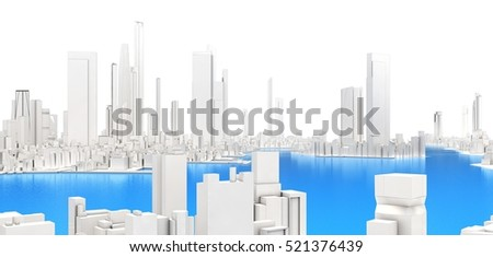 3d generic city with lake on white background 3D illustration