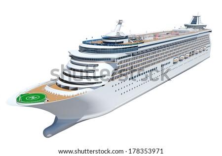 3D Generic Cruise ship - stock photo