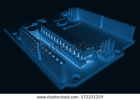 3d generic electronic circuit board on dark background
