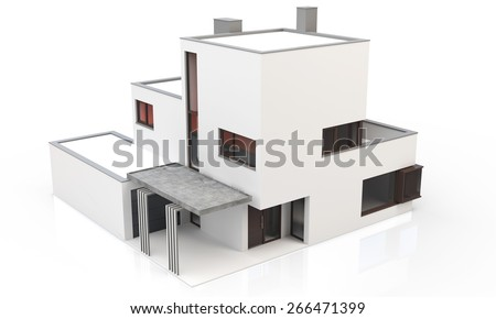 3d generic modern house isolated on white background - stock photo