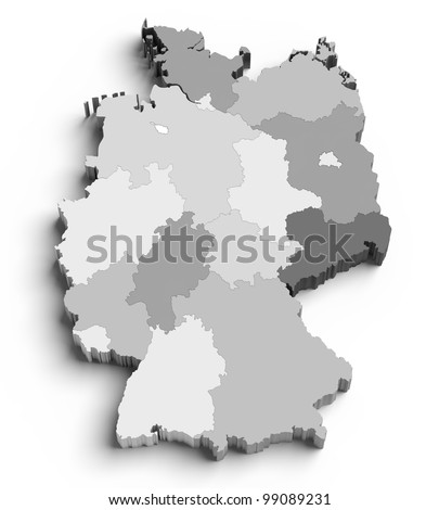 3D Germany map with regions and main cities - stock photo