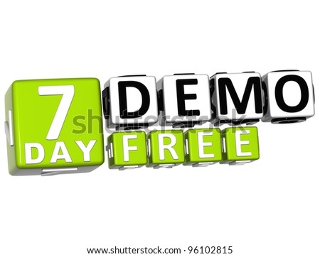 3D Get 7 Day Demo Free Block Letters over white background - stock photo