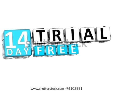3D Get 14 Day Trail Free Block Letters over white background - stock photo