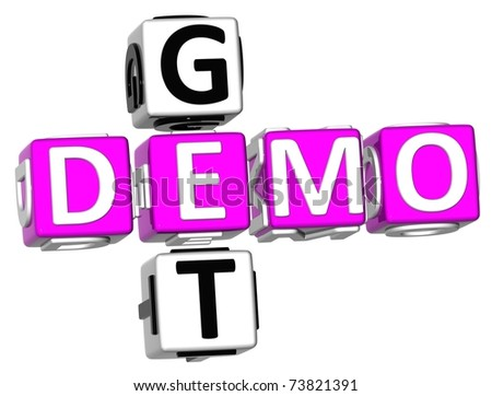 3D Get Demo Crossword on white background - stock photo