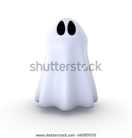 3d ghost isolated on white background - stock photo