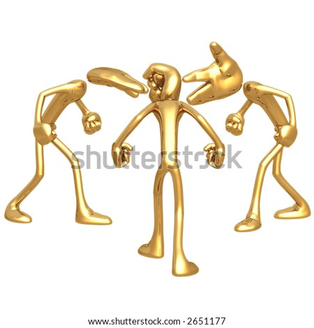3D Giant Hands Head Concept Playing Rock Paper Scissors - stock photo