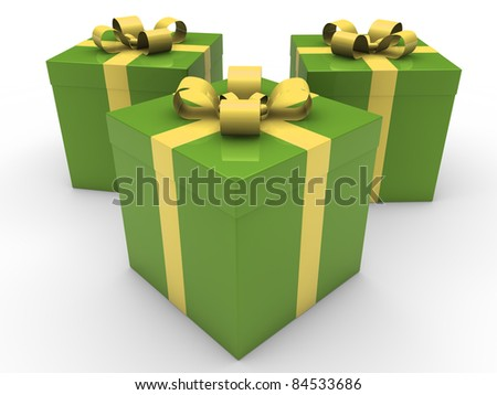 3d gift box celebration green yellow christmas