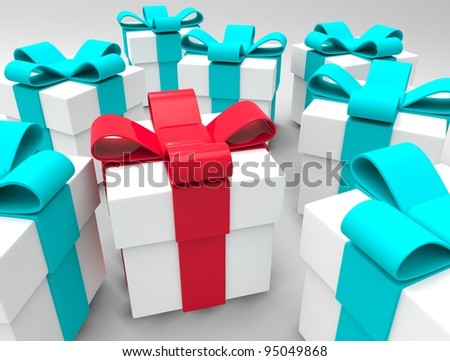 3d gift box white red isolated on white background