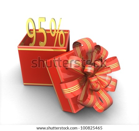 3d gift box with a sign 95% discount on a white background isolated