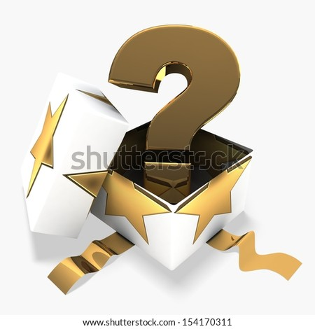 3d gift box  with golden question mark - stock photo