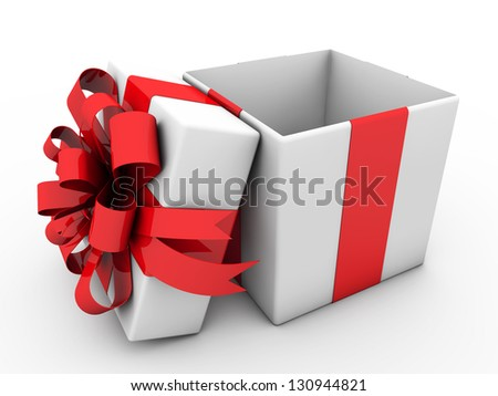 3d gift box with ribbons and bow - stock photo