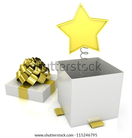 3d gift box with star - stock photo