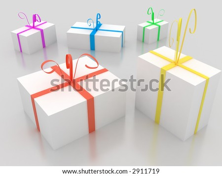 3d--gift boxes - stock photo