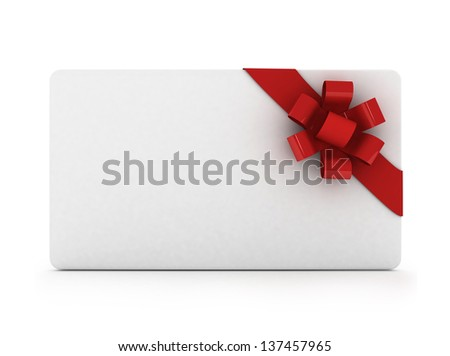 3d gift card with ribbon and bow