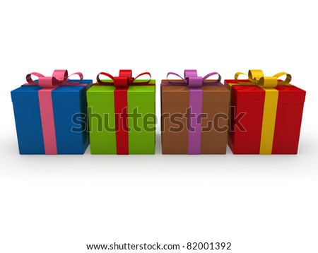3d, gift, red, gold, purple, green, pink