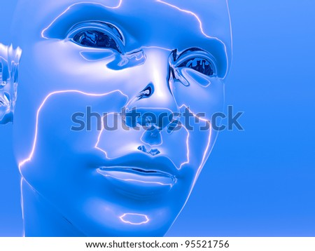 3D girl  head  - futuristic scene. Digital artwork - stock photo