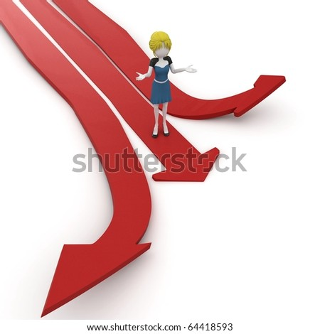 3d girl with multiple arrow paths isolated on white