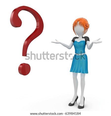 3d girl with question mark isolated on white - stock photo