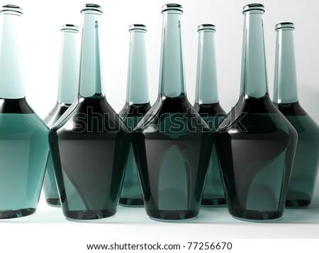 3d glass bottles - stock photo