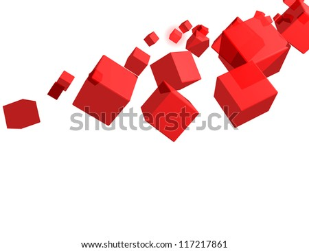 3D Glass Cube isolated on white Background with Space