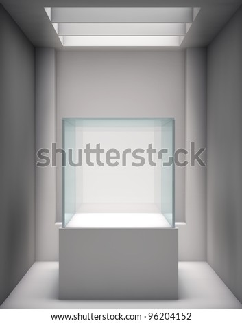 3d glass showcase and niche for exhibit in the gallery - stock photo