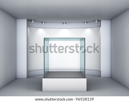 3d glass showcase and niche with spotlights for exhibit in the gallery - stock photo