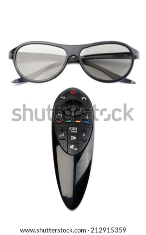 3d glasses and remote control TV. Isolate on white. - stock photo