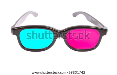 3-D glasses are made of black plastic with blue and red glass - stock photo