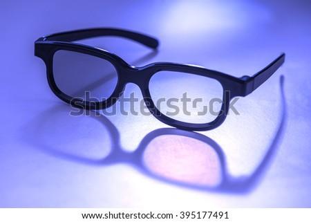 3D glasses concept close up - stock photo
