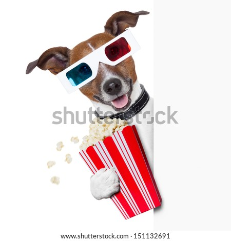 3d glasses dog with  popcorn beside a white banner - stock photo