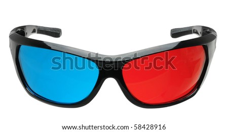 3d glasses in red and blue isolated on white with clipping path - stock photo