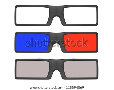 3D glasses isolated against a white background - stock photo