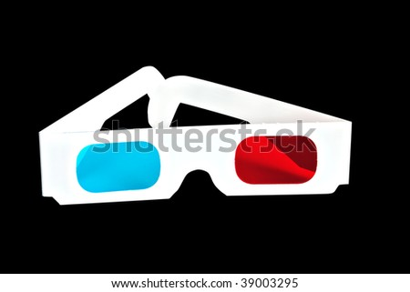 3d glasses isolated on black