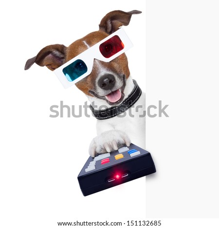 3d glasses movie dog with remote control - stock photo