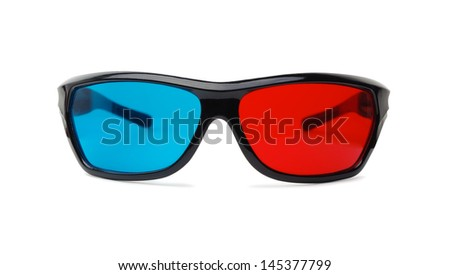 3D glasses on a white background - stock photo