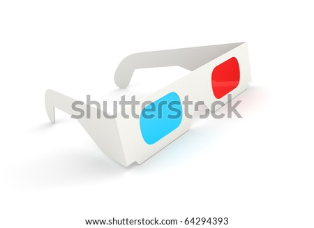 3D Glasses on white background. Clipping path included. Computer generated image. - stock photo